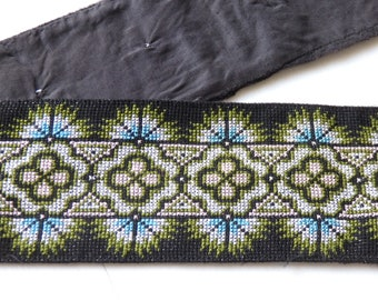 "VINTAGE Hmong Hill Tribe hand made cross stitch work for clothing, bags, accessories, 33""/85cm piece of hand sewn Thai cross stitch, VINTAGE"