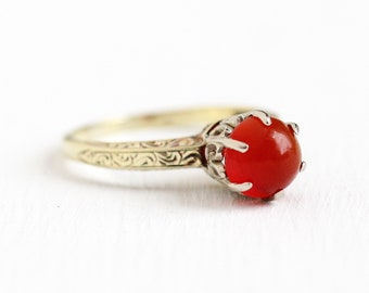 Vintage Carnelian Ring - 14k Yellow & White Gold Dark Red Genuine Gemstone - Art Deco 1930s Size 7 Cabochon Fine Two Tone Filigree Jewelry
