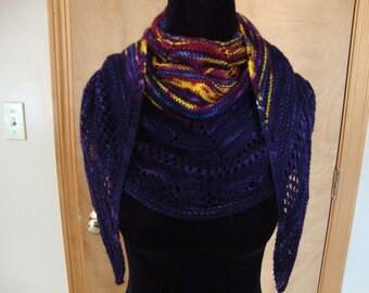 Hand Knit Wrap Lovely Purple