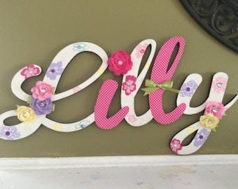 Custom Kids Name Sign - Nursery Wall Letters Name Sign - Wood Wall Letters Large Cursive Style 5 Letter
