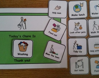 A5 Chore Chart for SEN/ Visual Learners/Autism/ADHD/ADD/Pre-School and Learning Difficulties