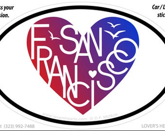 San Francisco Lover's Heart Euro Sticker for your car, laptop or...