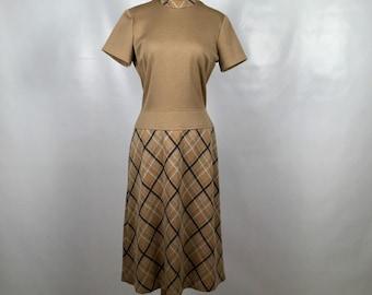 Vintage Brown and Plaid Vintage Dress