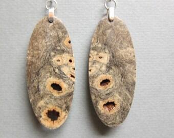 Buckeye Burl Earrings, Exotic Wood Large Dangle handmade ExoticwoodJewelryAnd