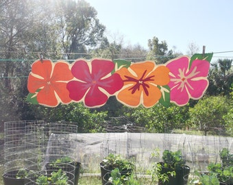 Vintage Colorful Tropical Hawaiian Hibiscus Runner 13x46