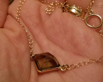 Smoky Quartz Necklace, Smoky Quartz Pendant, Quartz Pendant