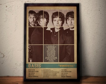OASIS Poster, Wonderwall Lyric Art, Music Poster, OASIS Print, Retro Vintage Wall Art A1 A2 A3 A4 Size
