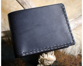 Black vegetable tan leather bifold wallet