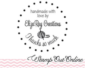 Handmade with love rubber stamp with a crochet hook and ball of yarn