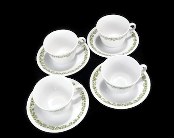 Vintage Corelle Livingware Cups and Saucers * Set of 4 *  Spring Blossom Green Tea Cups * Crazy Daisy * Pyrex Compatible