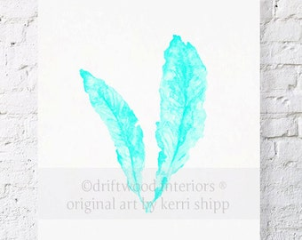 Sea Fan in Turquoise Watercolor Print - Sea Coral Art in Turquoise - Sea Life Wall Art