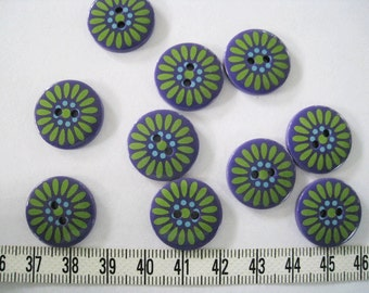 20 pcs of  Flower Button  Graphic Print Button  -  19mm Green and Purple
