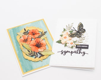 Floral Sympathy/Thinking of You Cards-Set of 2