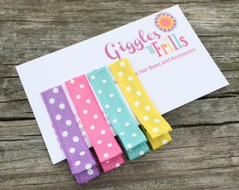 Polka Dotted Hair Clip Set, Bright Colored Polka Dot Hair Clips, Basic Hair Clips, Girls Hair Clips, Toddler Hair Clips, Summer Hair Clips
