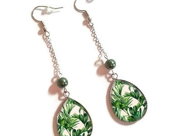 Drop earrings with glass cabochon 18 x 25 mm * leaves * (100218)