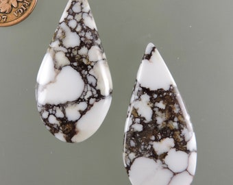 Wild Horse Cabochons, Wild Horse Cabs, White and Brown Earring Cabs, Designer Wild Horse, Gift Cabs, C3100, Hand Cut by 49erMinerals
