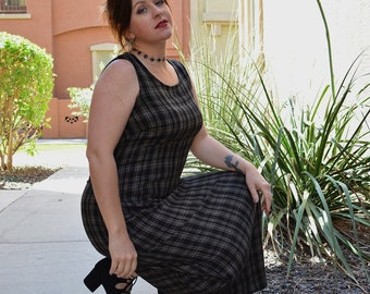 90s Grunge Plaid Dress Black Maxi Dress Sundress With Tie in the Back Loose Casual Fit Gothic 90s Clothing Size Medium Epsteam
