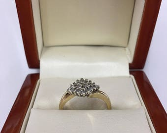 Vintage 9ct Yellow Gold Cluster Ring Size J 1/2