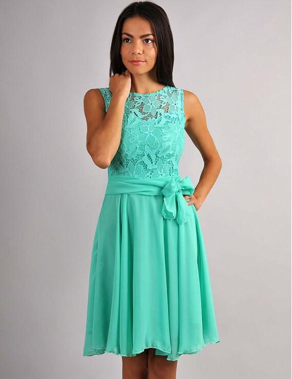 Bridesmaid mint color dress Knee mint dress Cocktail dress