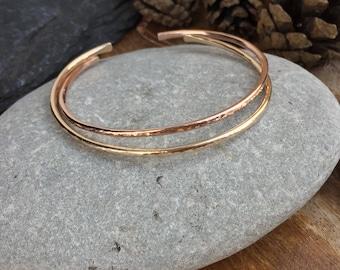 Stacking Open CUFF BRACELET    Gold or Rose Gold  Friendship bracelet  Bridal