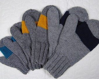 Custom center striped mittens - toddler to adult sizes