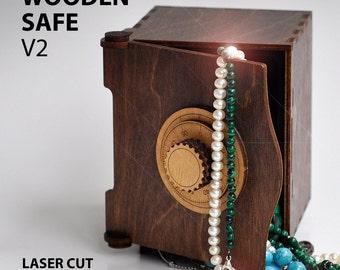 Wooden SAFE v2. Vector model for laser cut. Instant download