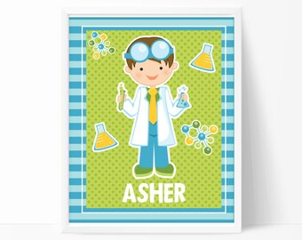 Boy Scientist Wall Art Print, Personalized Children's Room Wall Print, Art Print, Child Room, Science, Art, Scientist, Room Decor