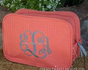 Monogrammed MakeUp Bag | Bridesmaid Gift | Cosmetic Bag | Waffle Weave Bag