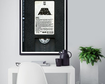"""Star Wars Original VHS Tape Poster! - 24"""" x 36"""" - Various Sizes - Red Label - HiFi Stereo - 1977 / 1982 Release - A New Hope - Episode IV"""