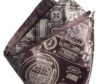"""Apollo Cockpit pocket square. """"Rocket Science"""" screenprinted handkerchief. Microfiber hanky. Choose fabric color & print color."""