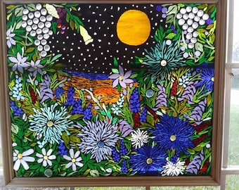 "Garden of Eden Harvest Moon Stained Glass Mosaic 24""x28"""