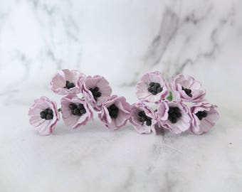 Light purple paper flowers - 10 mulberry paper poppies - 2 cm mini paper anemone