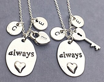Custom Always Necklace, Couple's Charm Necklace Set, heart necklace, Couples Jewelry, love necklace, friendship jewelry, Custom Necklace