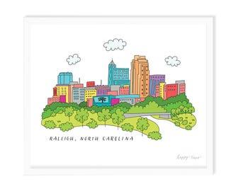 Raleigh North Carolina Skyline Art Print