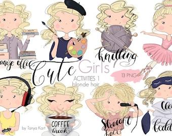 Stickers Girls, Planner Girls Icons, Blonde Hair Girls, Painter, Knitting, Balerina, Coffee Break Stickers, Gamer Girl, Cute Girls Icons