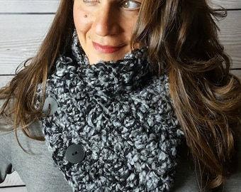 Handmade Boston Harbor Scarf, Crochet Neckwarmer, Black and Gray Button Scarf, Chunky Cowl Scarf - Super warm and soft and Ready to Ship!