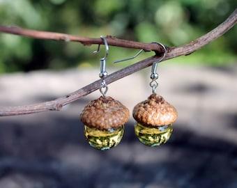 acorn earrings Glass Acorn Lampwork, acorn ornament, made from flamework glass and  an acorn cap earrings acorns