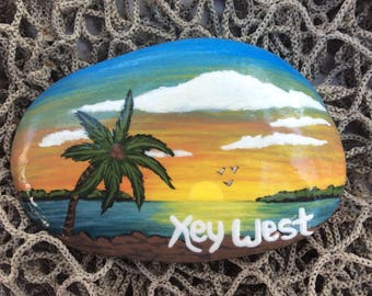 Key West Tropical Painted Stone
