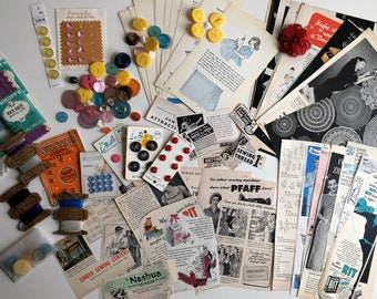 Vintage Ephemera Paper Pack SEWING Seamstress Advertising Ads Mid Century Book Pages Junk Journal Vintage NOTIONS Buttons Rick Rack Grab Bag