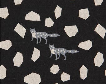 214100 echino black with natural color shape grey fox canvas laminate fabric