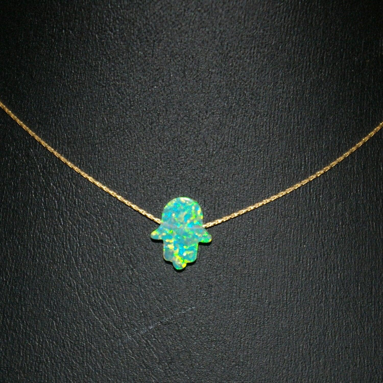 Green opal hamsa fatima hand symbol charm pendant with 14kt zoom buycottarizona Gallery