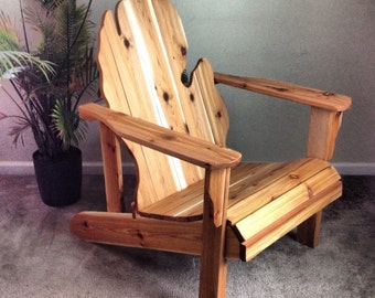 Michigan Adirondack Chair Handmade Wood Furniture Rustic Patio Cedar  Adirondack Chair Michigan State Glove Finished   LOCAL PICKUP ONLY