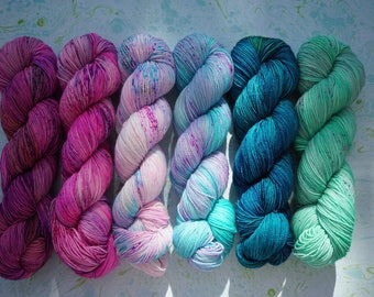 Mermaid Fade Set 1, Dyed to order. 6 x 100g skeins.