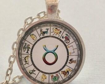 TAURUS glass pendant necklace, Astrology necklace, Taurus jewellery, Silver astrology necklace