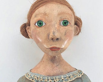 "Folk Art Doll cloth and paperclay primitive style 16"" long - 2"