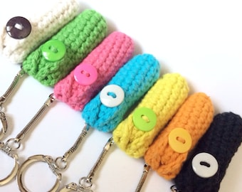 Crochet Keychain Lip Balm Holder - Choose from 8 Solid Colors