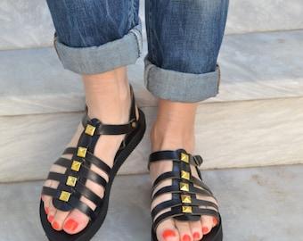 aelia greek sandals/acrobat/black leather with gold studs/gladietor/gothic leather sandals/