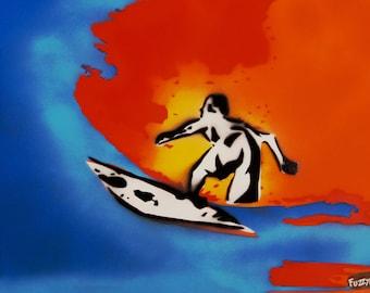 Surfer Spraypaint stencil