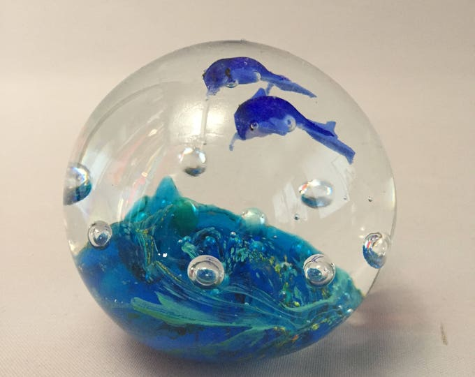 Murano glass paperweight 2 dolphins and the sea