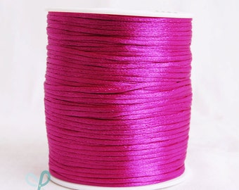 2mm x 100 yards Rattail Satin Nylon Trim Cord Chinese Knot - FUCHSIA